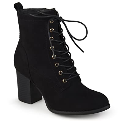 9a9546667d64 Journee Collection Womens Stacked Heel Lace-up Booties Black