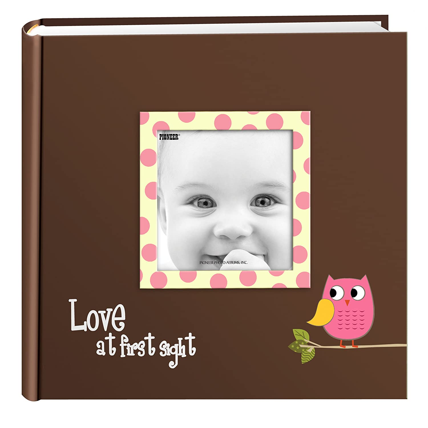 Pioneer Photo Albums EV-246FB/O 200-Pocket Baby Owl Printed Designer Frame Cover Photo Album, Pink Inc EV-246FB/OP