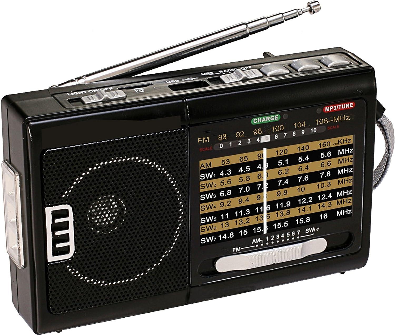 QFX R-3 AM//FM//SW1//SW2 Retro-Styled Handheld 4-Band Radio LED Power Indicator