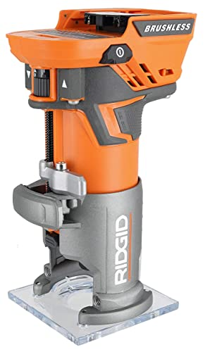 Ridgid R86044B 18V Lithium Ion Cordless Brushless 1 4 Inch Compact Router w Depth Adjusting Battery Not Included Power Tool Only