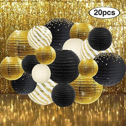 Amazon.com: NICROLANDEE - Farol de papel negro y dorado con ...