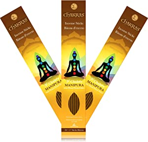 7 Chakras - 3 Manipura - Solar Plexus - Confidence - Primary Aromas Bergamote & Ginger - 11 inch - 60 Minutes - 3X 20-Pack - 100% Natural Hand Dipped Incense Sticks