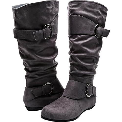 a8b8cfa2e65 Aukusor Women s Wide Width Mid Calf Boots - Buckle Detail Elastic Extra Wide  Calf Zipper Slip