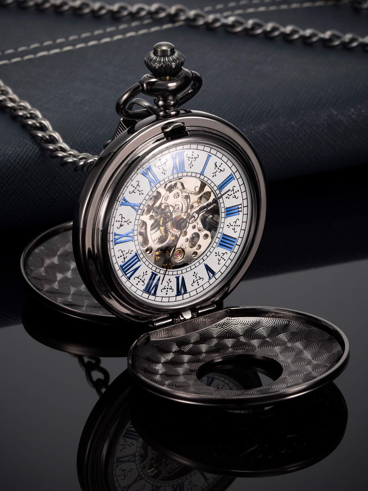 Hicarer Steampunk Blue Roman Dial Double Cover Windup Steel Skeleton Men Mechanical Pocket Watch 5