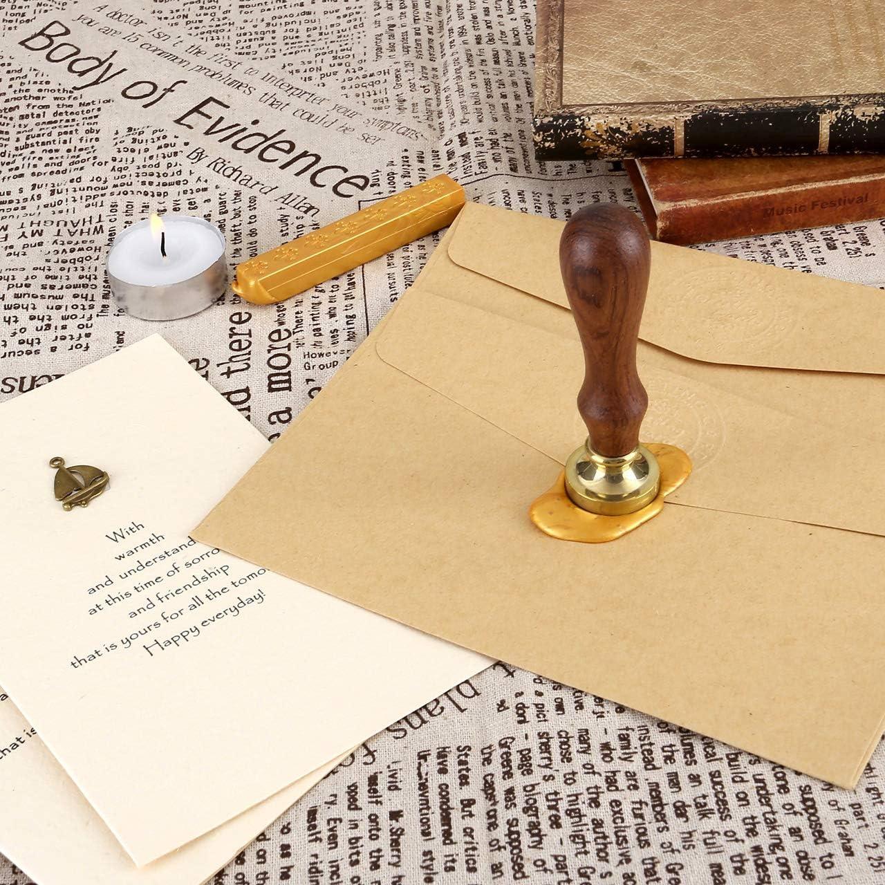 Mogokoyo Vintage-Stil Pflanzen-Serie Rosenholz Wachs Siegelstempel Dekorativer Siegel Petschaft Holzgriff Brief mit verschidene Gravur/ #2 Lebensbaum- 30mm