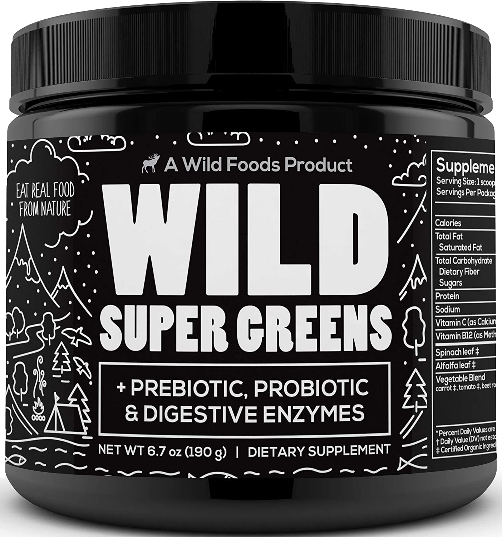 Wild Foods Super Greens Powder - Organic Green Superfood Powder with Digestive Enzymes - 3 Servings of Veggies per Scoop - Mixed with Kale, Spirulina, Chlorella - Vegan & Keto Friendly (30 Servings)