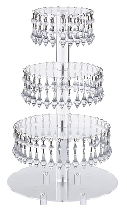 Amazoncom PreInstalled Crystal Beads Tier Acrylic Cupcake - Cupcake chandelier stand crystals