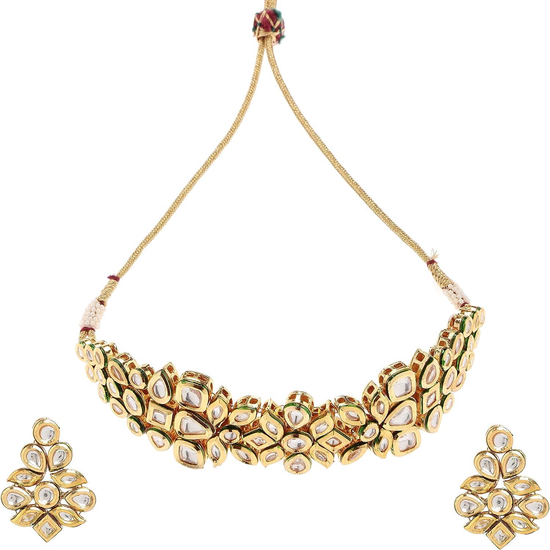 Imlistreet Kundan Necklace Earring Set Gold Women Fashion Necklace Set