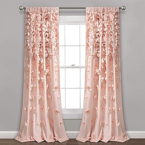 Lush Decor Blush Riley Curtain Sheer Ruffled Textured Bow Window Panel
