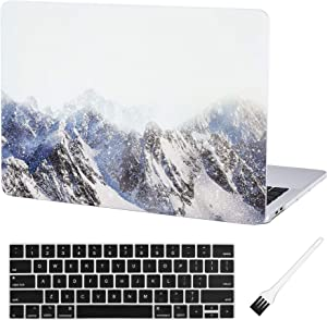 Case Star MacBook Pro 13 Inch Case 2020 2019 2018 2017 2016 Release A1706 A1708 A1989 A2159 Ultra Thin Plastic Hard Sleeve Cover & Keyboard Cover & Anti-dust Brush (Snow Mountain)