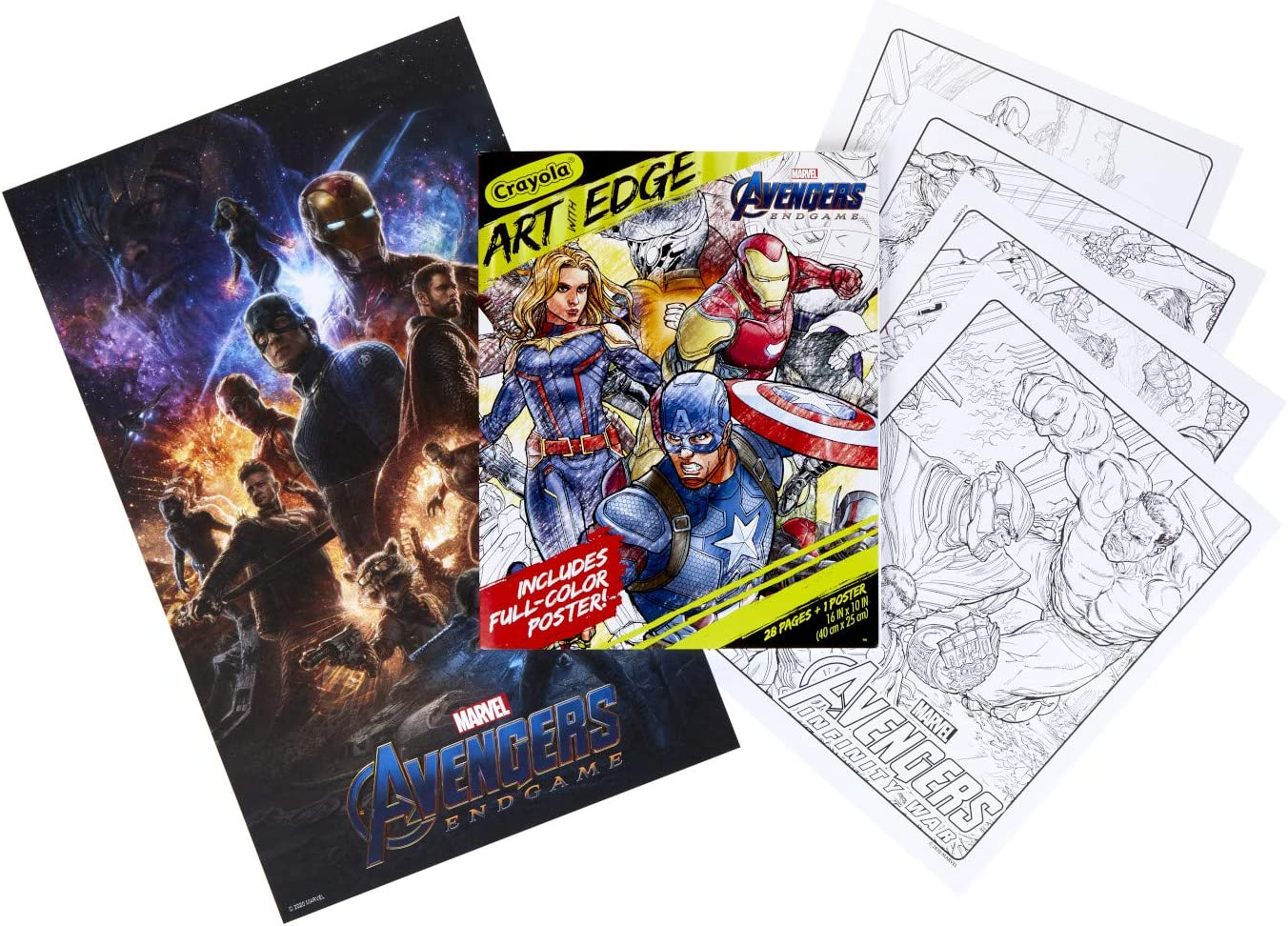 Amazon Com Crayola Marvel Avengers Endgame Coloring Pages Poster 28 Pages Toys Games