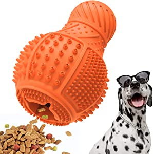 Dog Toys for Aggressive Chewers, Durable Natural Rubber Interactive Dog Puppy Chew Toys for Bored , Dog Puzzle Toys with Teeth Cleaning and Food Dispensing