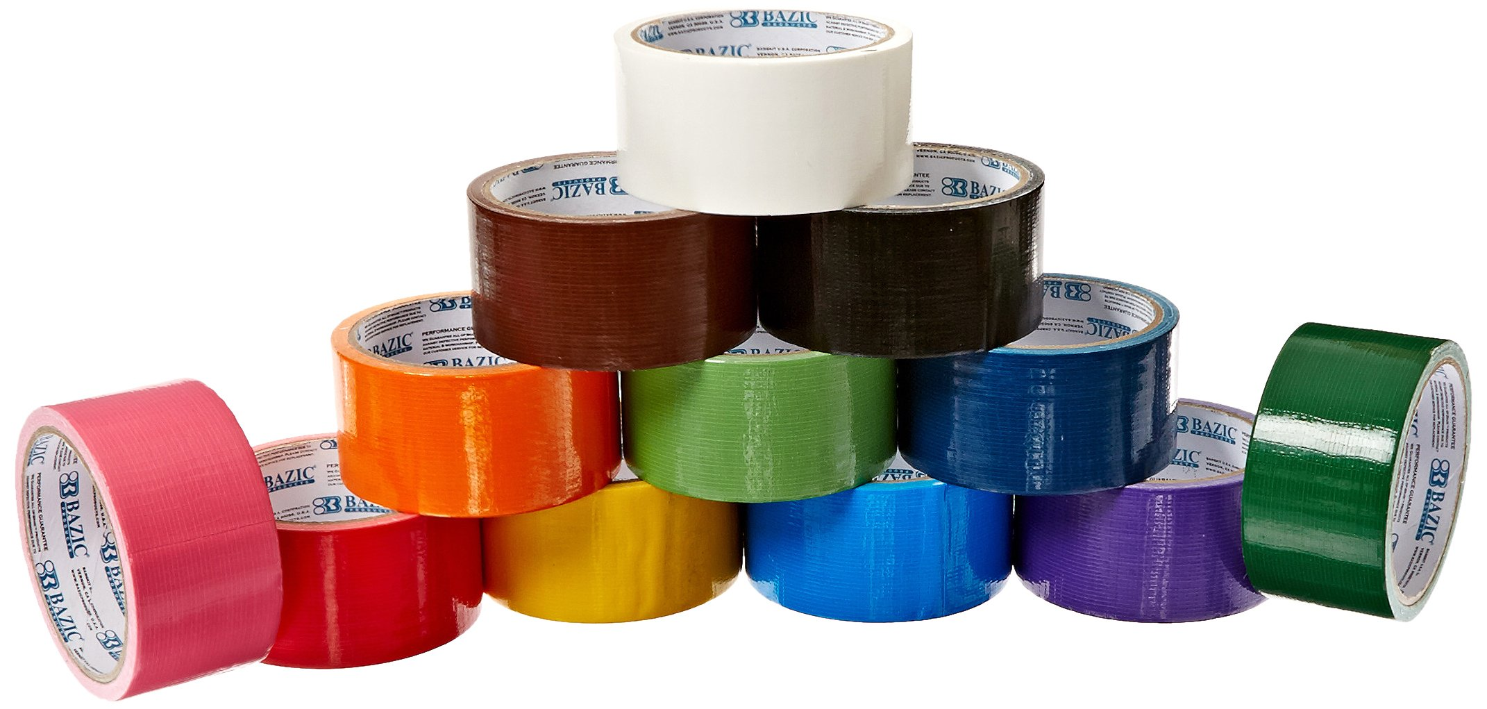 24 Roll Variety Pack Solid Colors (brights and regular colors) of All Purpose Duct Tape. Brights Include: green, blue, orange, purple, yellow and pink. Regular colors include: brown, white, black, green, red, and blue. All solid color rolls are 1.89x 10 y