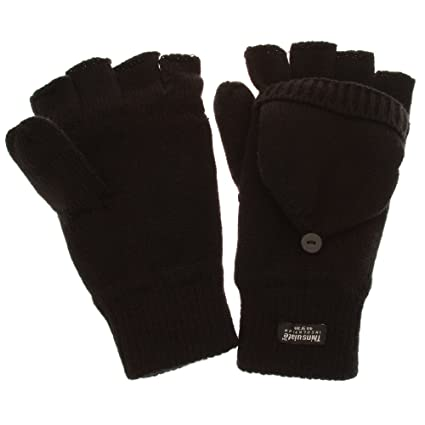 11edd8708c2 Mens Thermal Thinsulate Capped Winter Fingerless Gloves (3M 40g) (One Size)  (Black)  Amazon.ca  Luggage   Bags