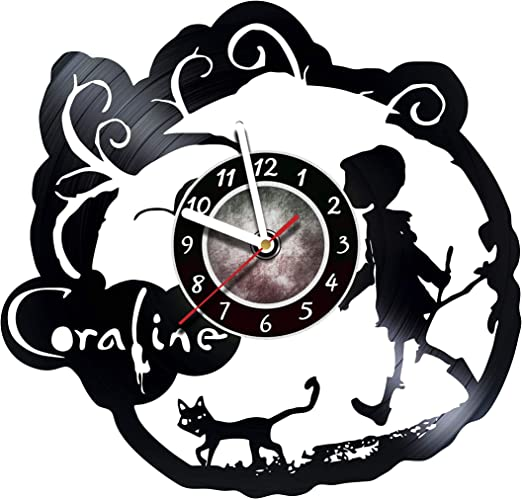 Amazon Com Amararoom Coraline Wall Clock Made Of Vinyl Record Original Decor Unique Design Incredible Gift Idea For Christmas Birthday Anniversary Women Men Boyfriend Girlfriend Teens Friends Home Kitchen