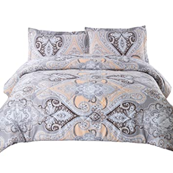 Amazoncom Bedsure Twin Comforter Set Classics Grey Paisley Design