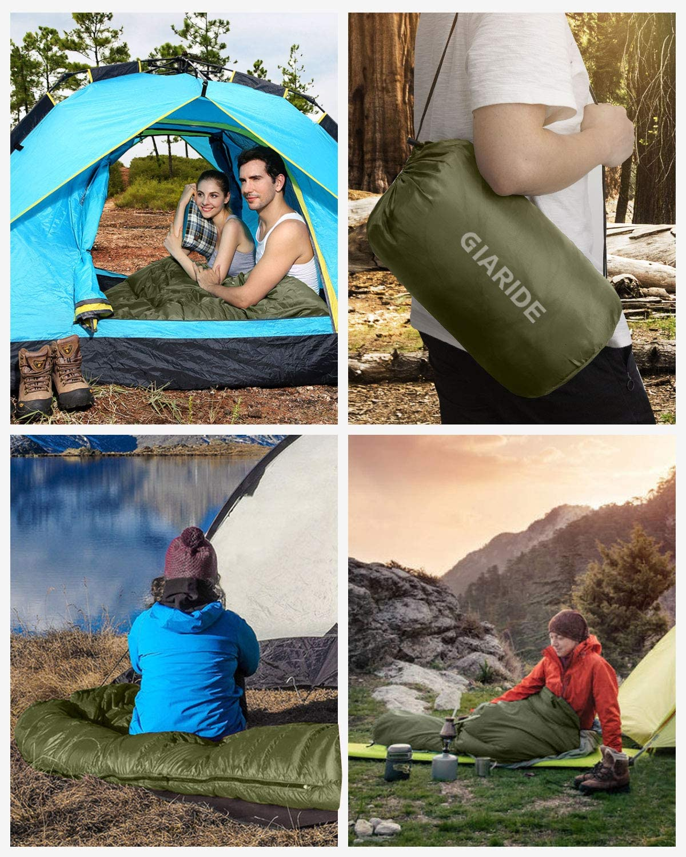 GIARIDE Camping Schlafsack Warm /& Cool Weather wasserdichter Schlafsack f/ür Erwachsene /& Kinder Campingausr/üstung f/ür Reisen Leichter tragbarer Camping im Freien Wandern