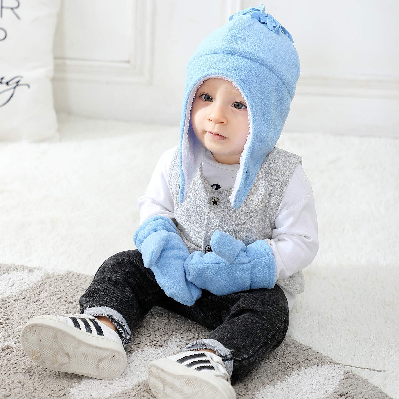 Century Star Baby Fleece Hat Warm Earflap Kids Caps Toddler Boys Winter Hat and Mitten Set