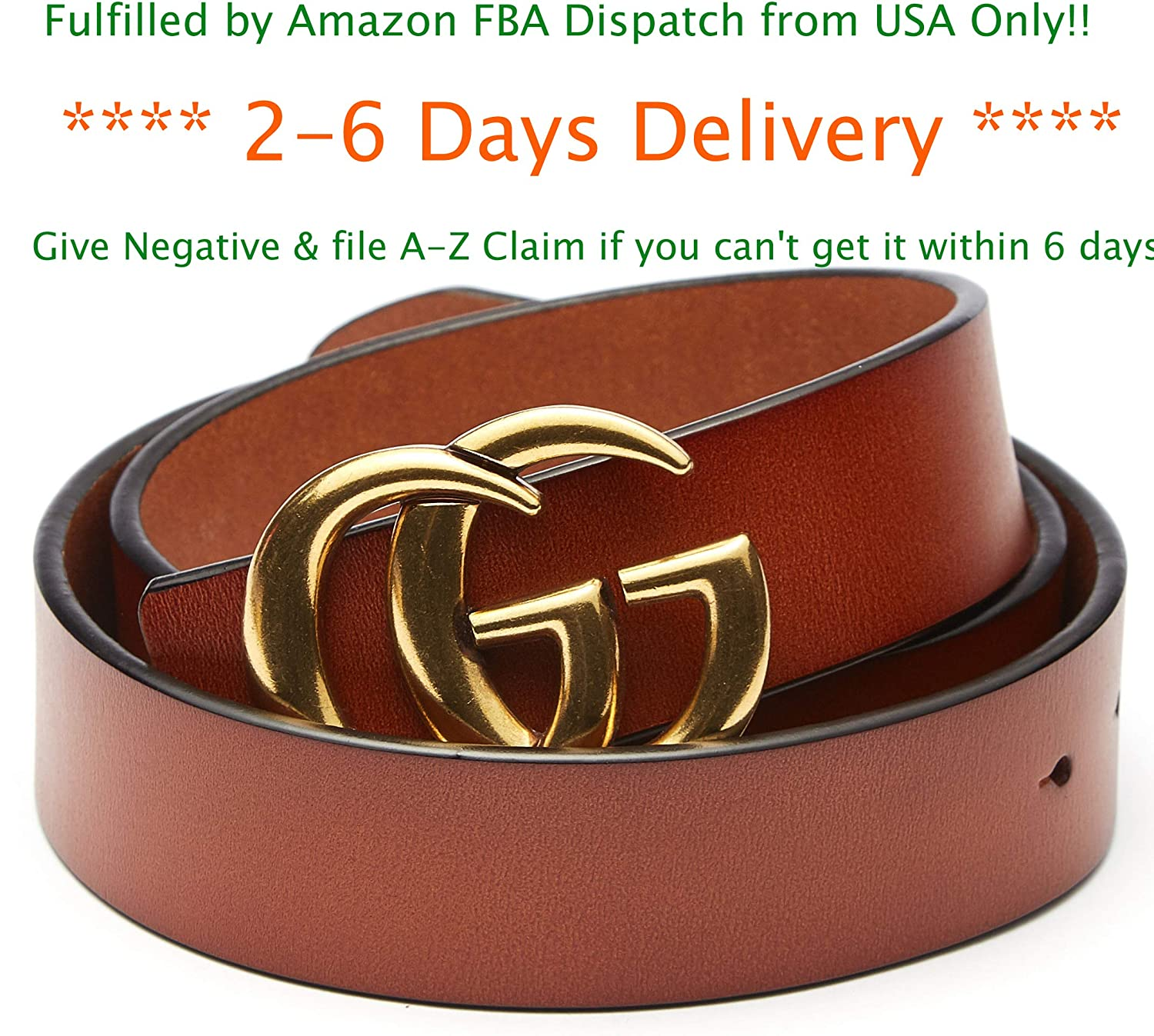 US FBA Fast Deliver 2-7 Days Guarantee - Fashion Style Gold Buckle Leather Belt for Women Lady [3.8cm Belt Width]