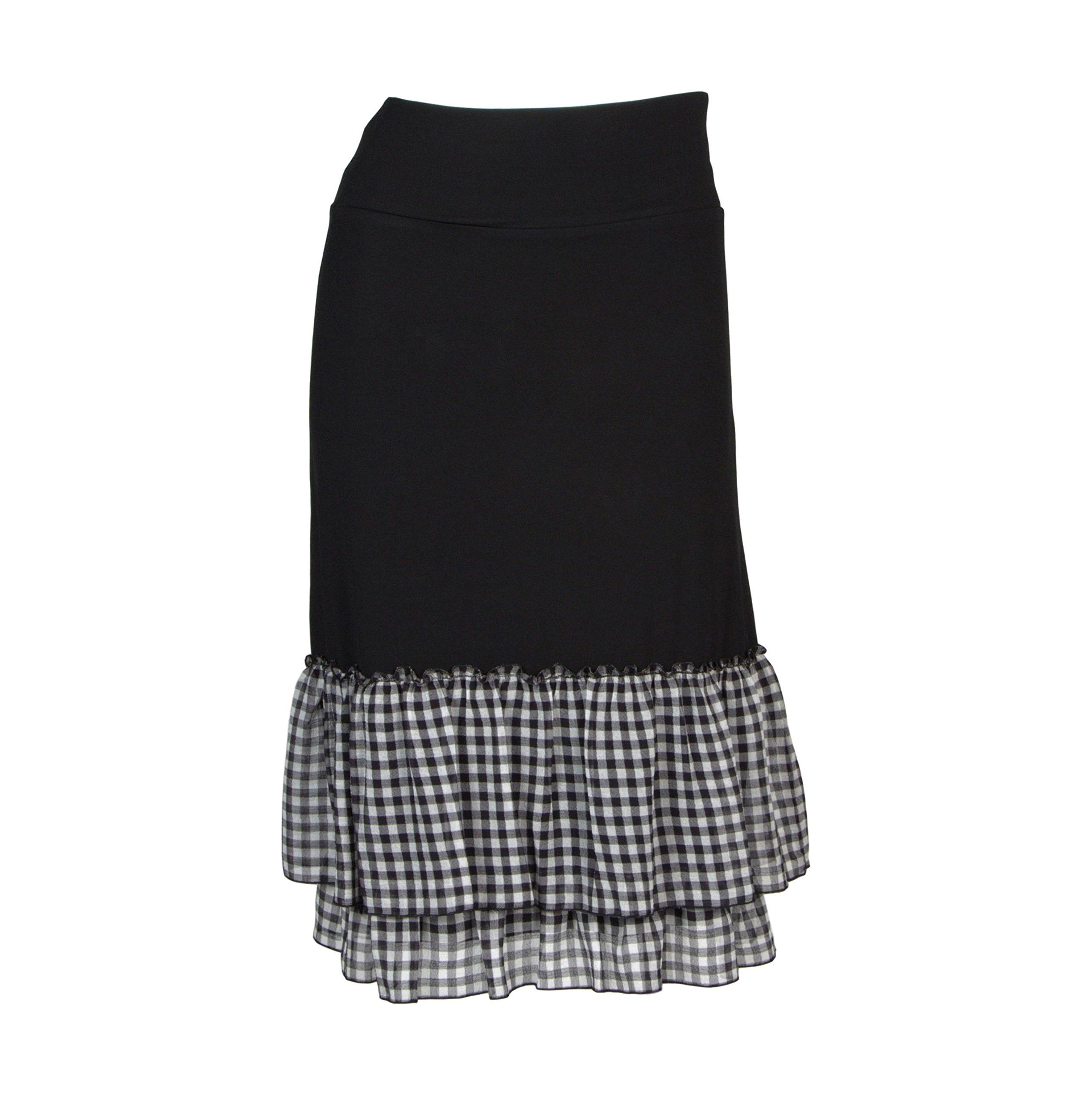 Peekaboo-Chic Cottage Check Half Slip Skirt Extender (Black, l/XL)