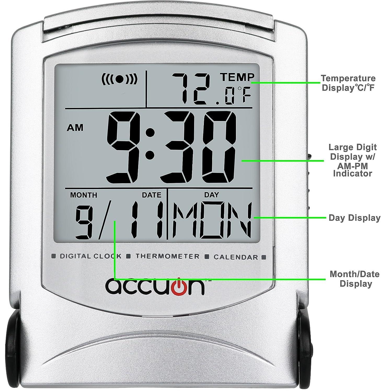 Accuon Ultra Slim Travel Alarm Clock with Calendar & Temperature: Amazon.es: Hogar