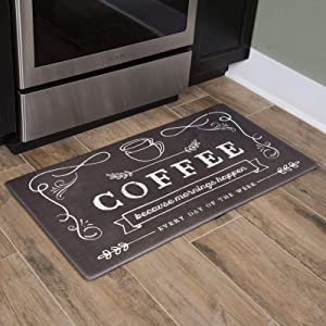Nicole Miller New York Coffee Because Modern Kitchen Mat, Brown/Ivory, 20