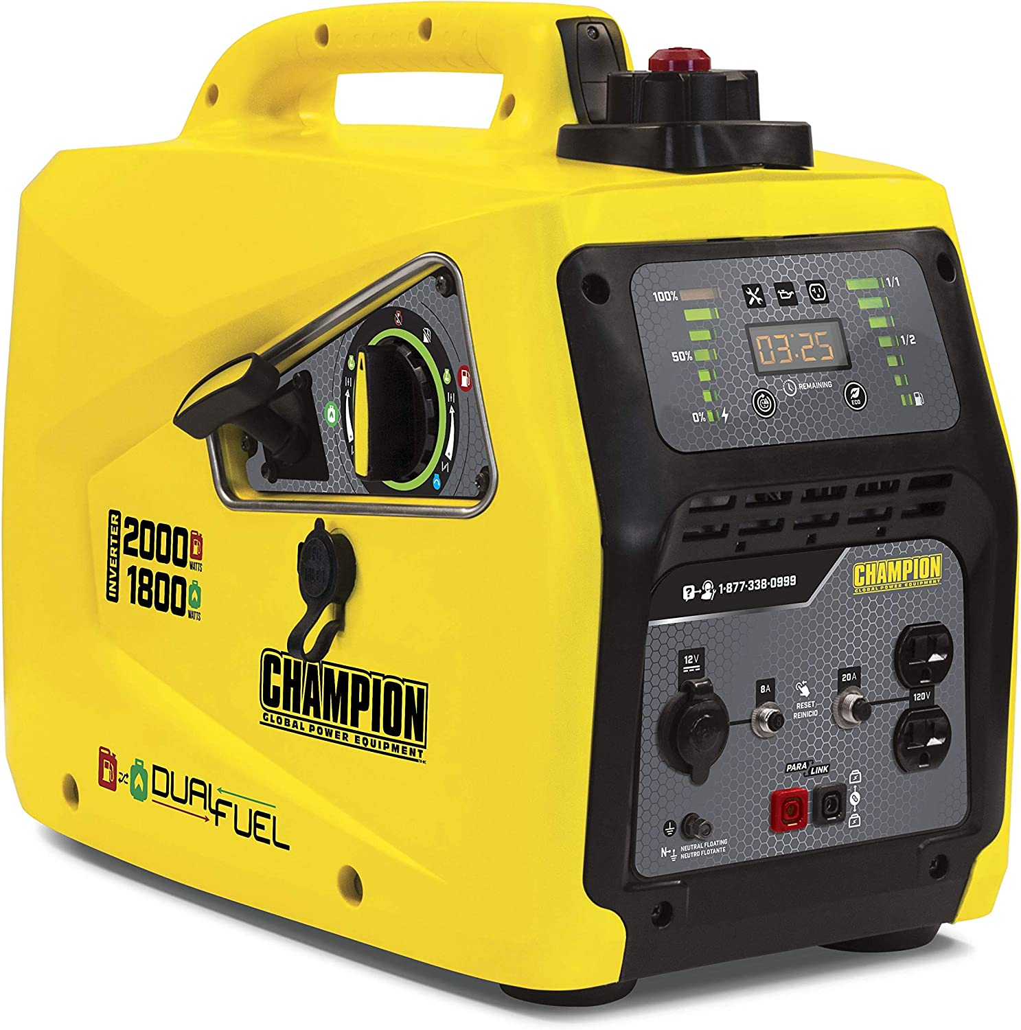 Champion Power Equipment 100402 2000-Watt Dual Fuel Parallel Ready Inverter Portable Generator, Yellow
