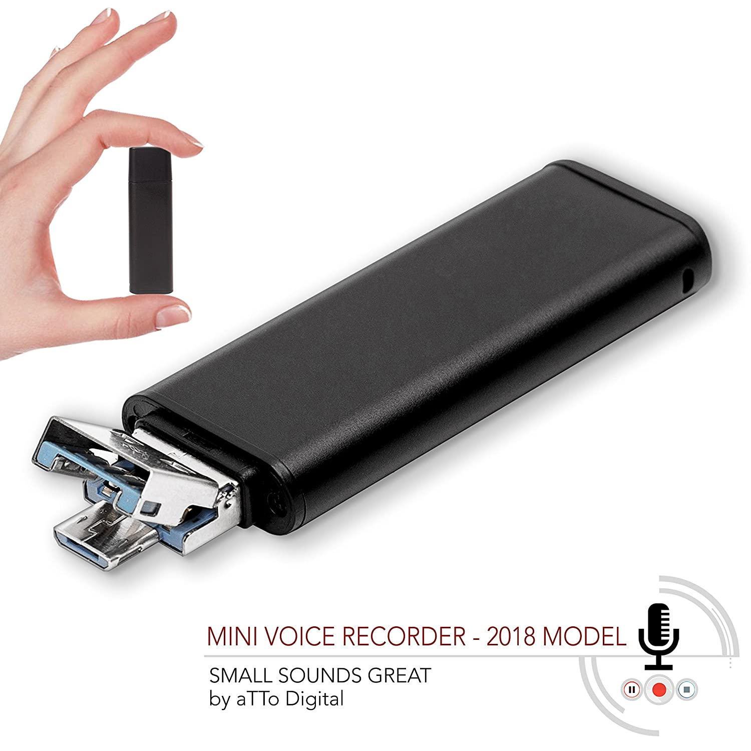 Slim Voice Activated Recorder – USB Flash Drive | 26 Hours Battery | 8GB - 94 Hours Capacity | 512 Kbps Audio Quality | Easy to Use USB Memory Stick Sound Recorder | lightREC aTTo Digital