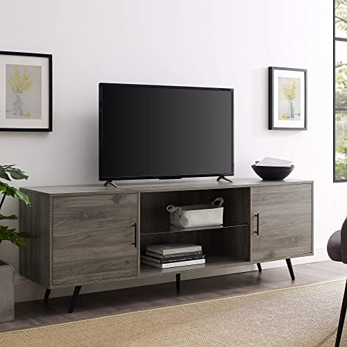 Walker Edison Furniture Company Mid Century Modern Wood Universal Stand for TV s up to 80 Flat Screen Cabinet Doors and Shelves Living Room Storage Entertainment Center, 70 Inch, Grey