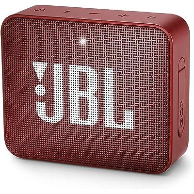 JBL GO 2 - Altavoz inalámbrico portátil con Bluetooth, resistente al agua (IPX7), hasta 5 h de reproducción con sonido de alta fidelidad, rojo