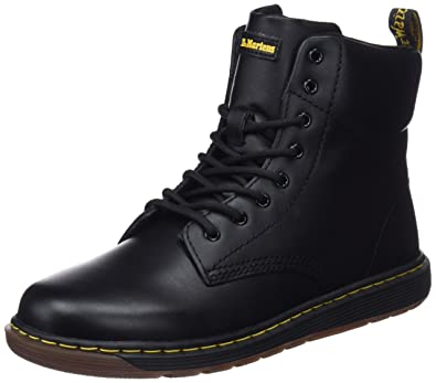Dr. Martens Kid's Malky Lace Up Fashion Boots, Black, Leather, 5 Big