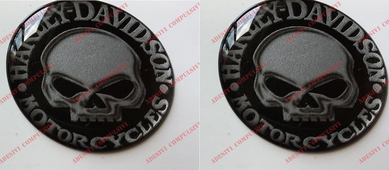 argent/é. Adh/ésif en r/ésine /à effet 3D logo Harley Davidson /«Skull Willie G/» Pour r/éservoir ou casque Couleur