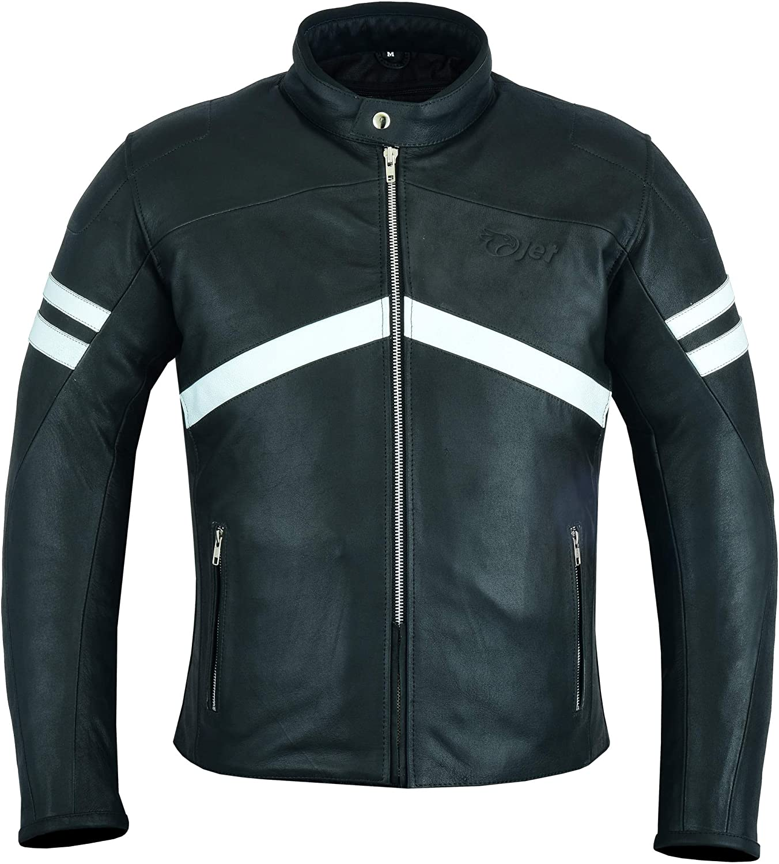 EU 48-50 Jet Blouson Veste Moto Cuir Homme avec Protection Homologu/é Cuir de Vachette Prime Biker Toucher Doux Cafe Noir, M