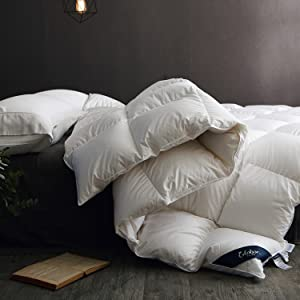 Globon Fusion White Goose Down Comforter King Size,Heavy Weight for Winter, 60OZ, 650 Fill Power, 100% Cotton Shell, Hypoallergenic with Corner Tabs, White