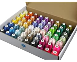 Simthread 63 Brother Colors Polyester Embroidery Machine Thread Kit 40 Weight for Brother Babylock Janome Singer Pfaff Husqva