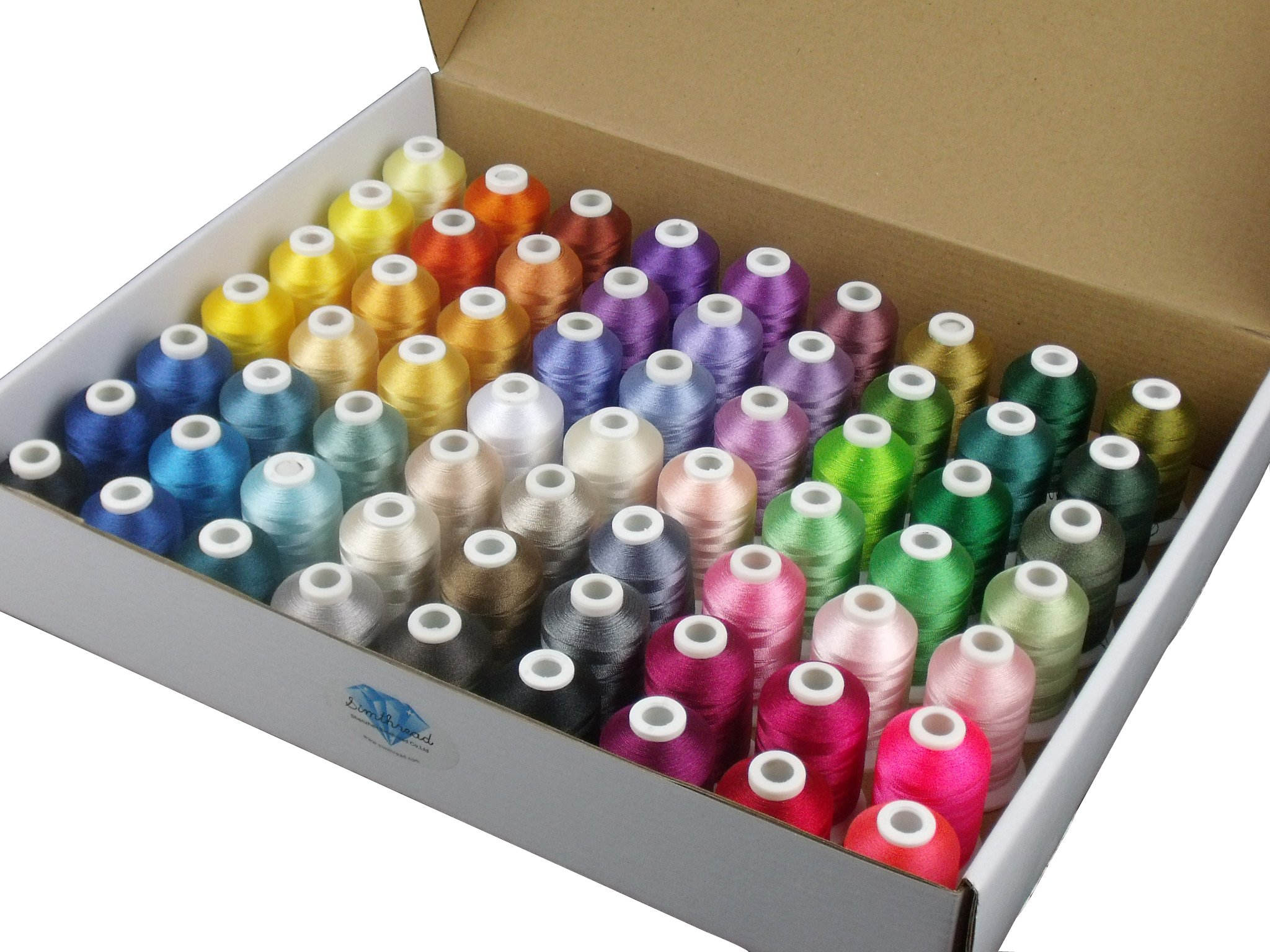 Simthread 63 Brother Colors Polyester Embroidery Machine Thread Kit 40 Weight for Brother Babylock Janome Singer Pfaff Husqvarna Bernina Embroidery and Sewing Machines 550Y by Simthread