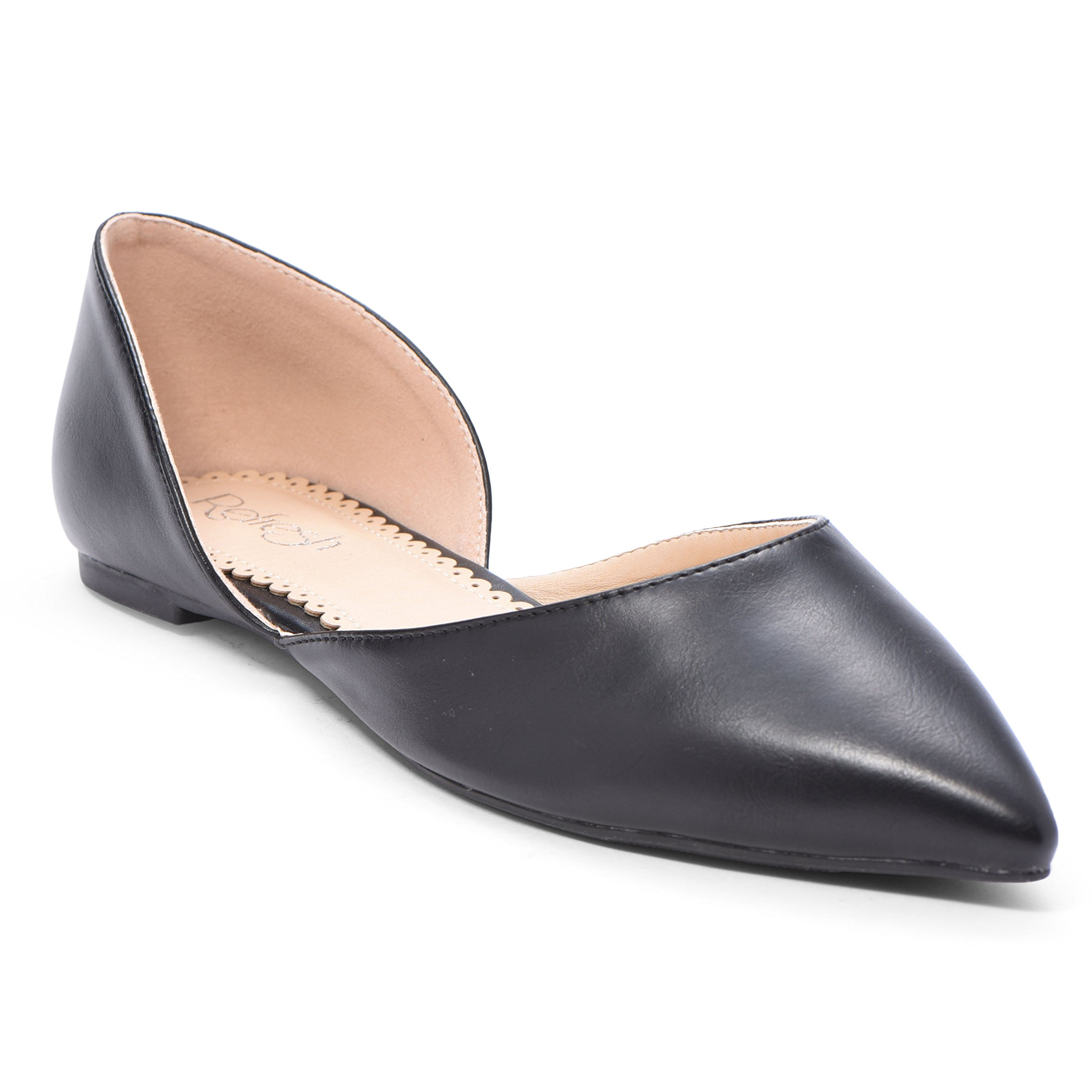 Women's Ballet Flat D'Orsay Comfort Light Pointed Toe Slip On Casual Shoes Black PU 10