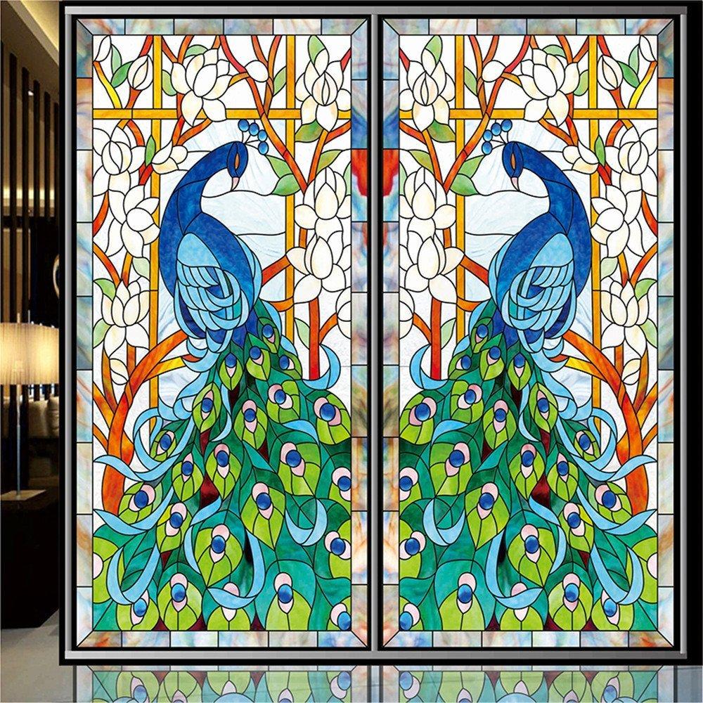 OstepDecor 孔雀画ステンドグラス 窓用フィルム 半透明 非粘着性 艶消し 幅36×長さ72インチ (カスタマイズ可) 18