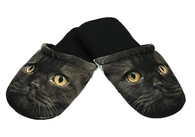 Betz Damen Jersey Hausschuhe Slipper Pantoffel Pantoletten Katze mit grünen Augen Größe L J75TeqH9i4