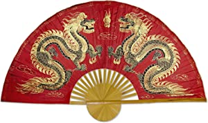 "Large 60"" Folding Wall Fan -- Fiery Dragons -- Original Hand-painted"