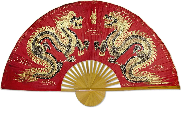 Fiery Dragons Original Hand-painted Large 60 Folding Wall Fan