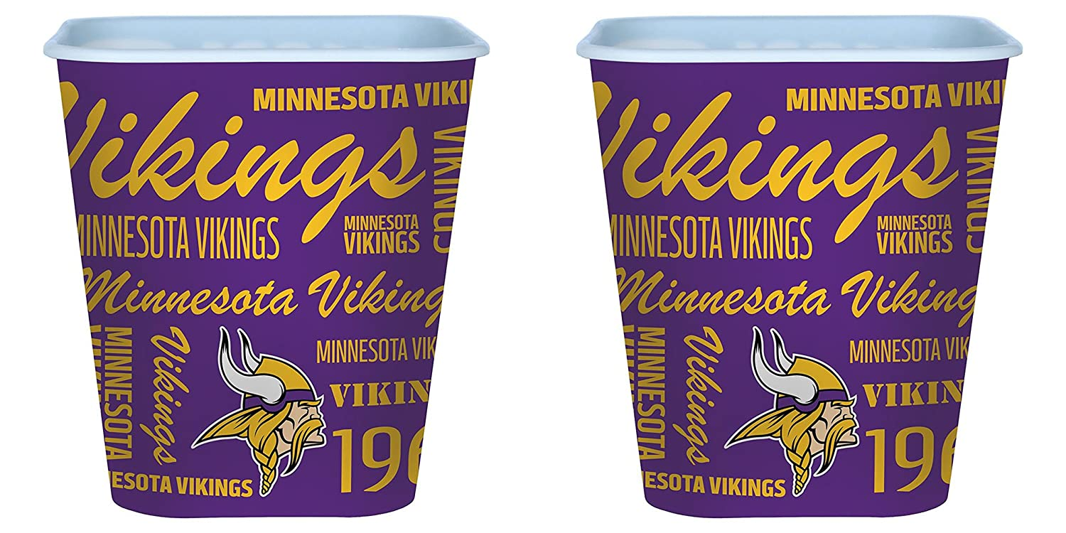 Minnesota Vikings 3 Liter Reusable Plastic Snack Bucket 2 Pack