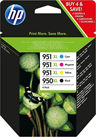 Officejet Pro HP GENUINE 950XL Black /& 951 Color Ink 4-PACK RETAIL BOX