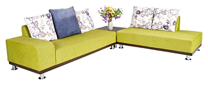 Indoor Exclusive Furniture Pine L- Shaped 6-Seater Sofa (Green)