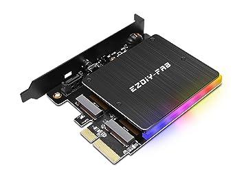 EZDIY-FAB Adaptador PCIe M.2 con disipador de Calor RGB direccionable de 5V, Compatible con NGFF PCIe SSD (tecla M) o M2 SATA SSD (tecla B y M) 2280 ...