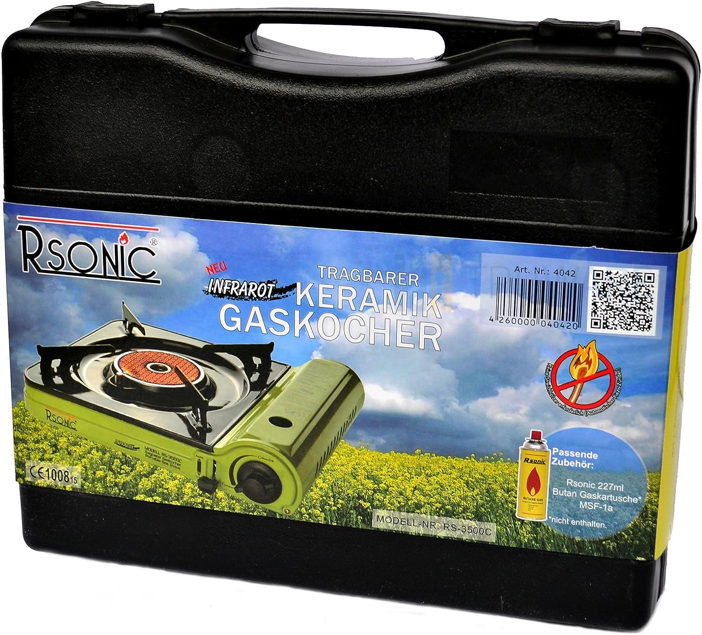 Cocinilla de Camping Cerámica Cocina de Gas Portable Cocina De Gas RS-3500C Parrilla de Gas Mechero de Gas - Verde O Gris, Keramikkocher mit 8 ...