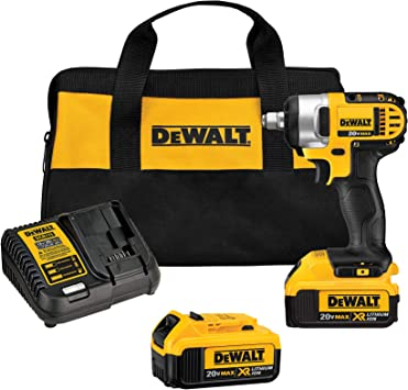 DEWALT 20V MAX Cordless Impact Wrench Kit with Hog Ring, 1/2-Inch (DCF880HM2) , Yellow