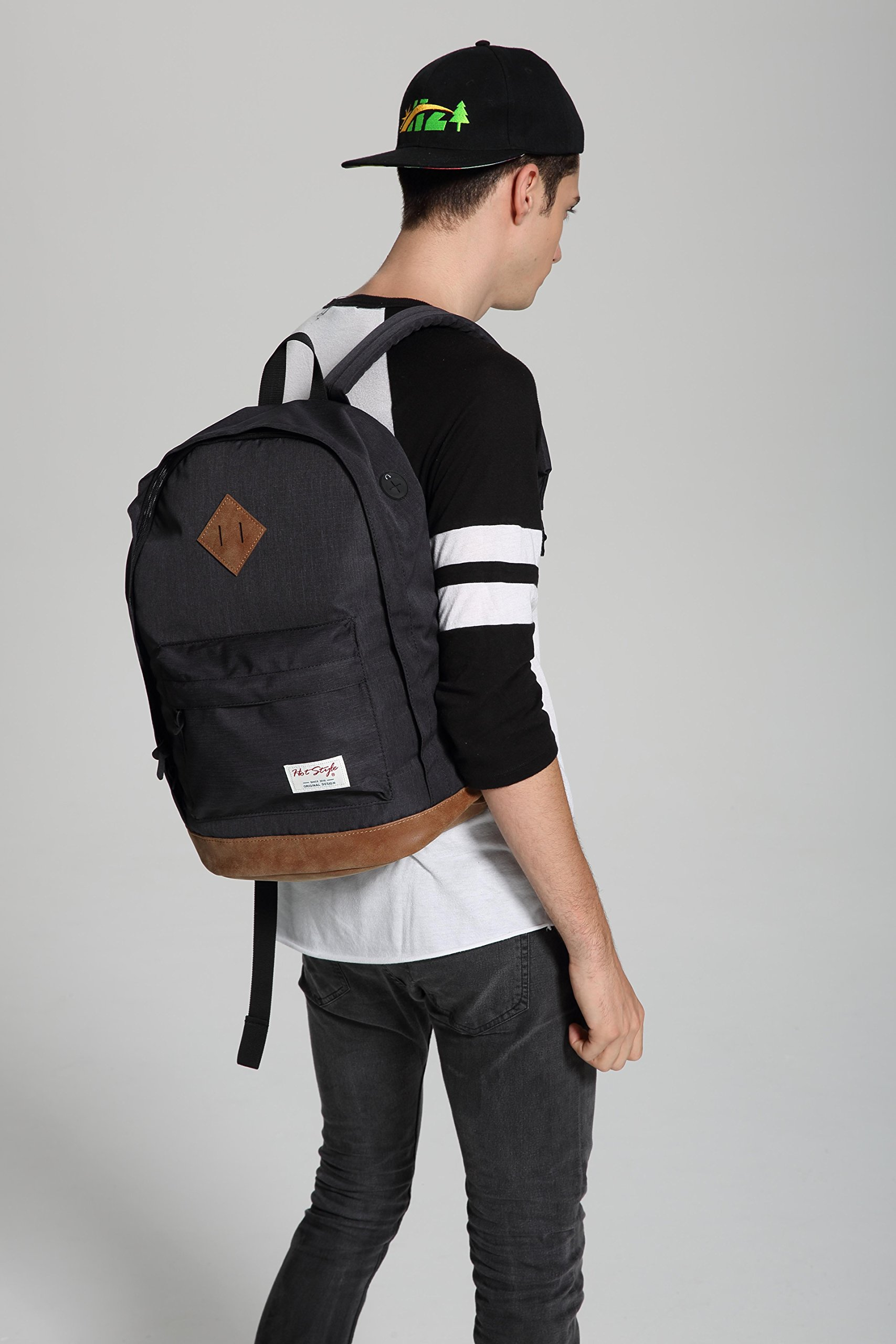 936Plus College School Backpack Travel Rucksack | Fits 15.6'' Laptop | 18''x12''x6'' | Black by hotstyle (Image #8)