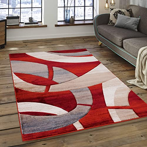 Allstar 8×11 Rust Modern and Contemporary Hand Carved Rectangular Accent Rug with Ivory and Mocha Abstract Close-up Interlocking Ring Design 7 1 x 10 5