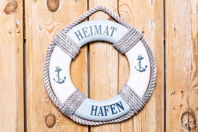 Meching Nautische Lifering aus Holz Nautische dekorative Rettungsringboje Wohnwandt/ürbeh/änge Dekor Blau Gelb 31CM Schilderpooldekorationen Stranddekor-Rettungsring
